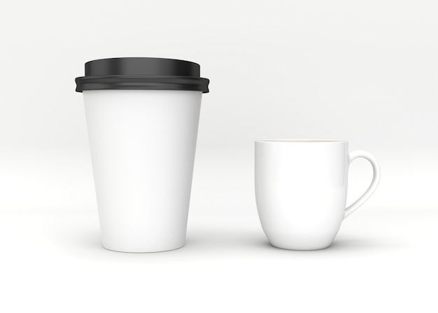 Blank mock up coffee cup on white background.