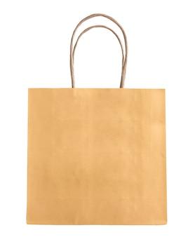흰색 배경에 펜이 분리된 빈 모의 크래프트 종이 가방. 고립 된 개체