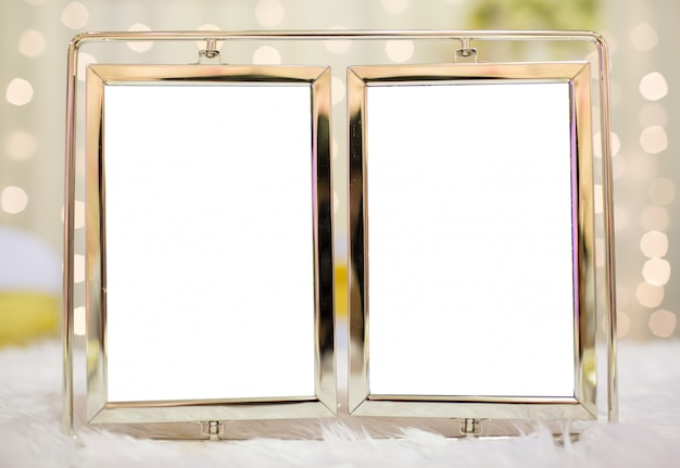 Blank modern picture frame in wedding ceremony with bokeh background