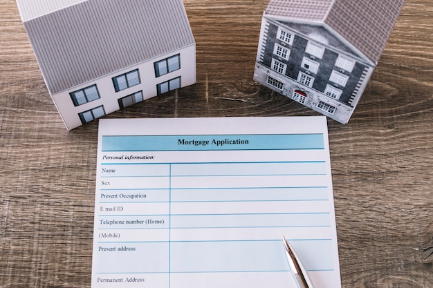 Blank mortgage application on table