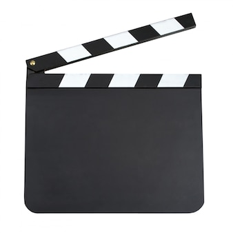 Blank movie production clapper board with copy space isolated on