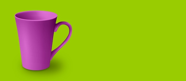 Blank mug isolated on colored 3d rendering