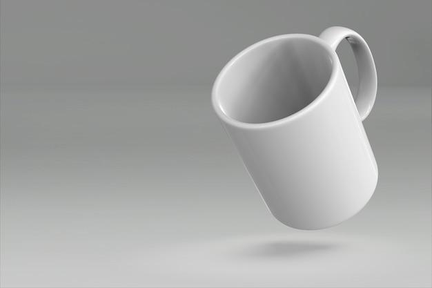 컬러 3d 렌더링에 고립 된 빈 머그잔