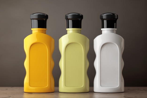 Blank multicolour hotel cosmetic bottles on a wooden table. 3d rendering