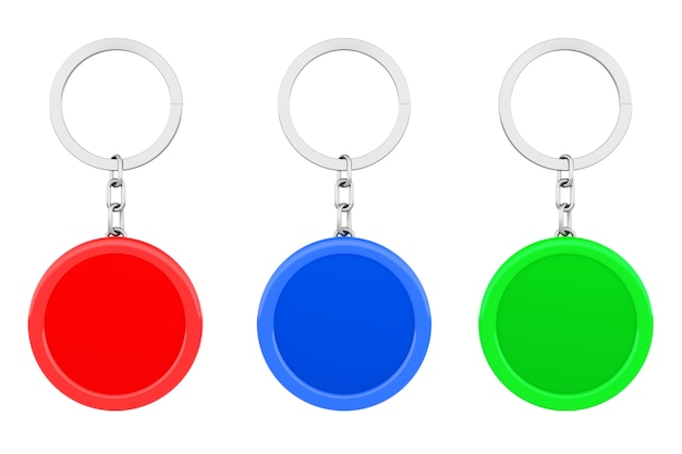 Blank multicolour round metal key chain with key ring on a white background. 3d rendering