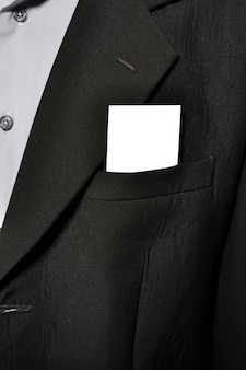 Blank name card in man suit pocket