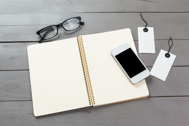 Blank note book on table