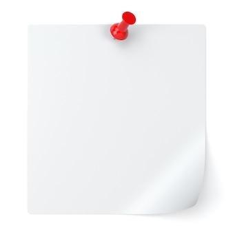 空白のメモ用紙と画鋲が白い背景で隔離-3dイラスト