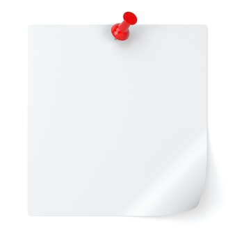Blank note paper and thumbtack isolated on white background - 3d illustration
