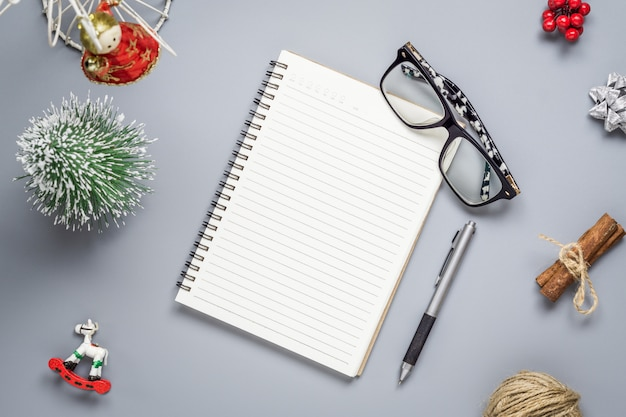 Blank notebook  on christmas and new year time
