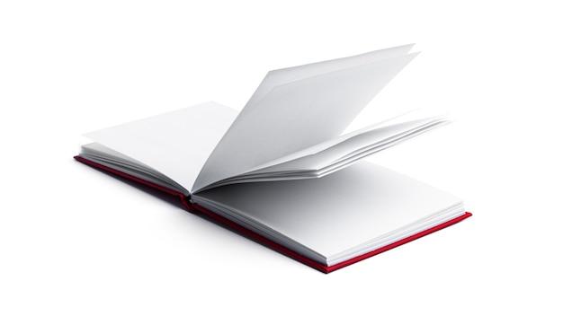 白い背景の上の空白のノートブック。高品質の写真