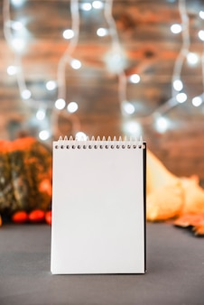 Blank notebook on table