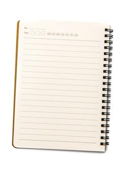 分離された白の空白のノートブック