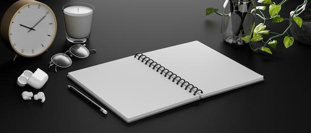 イヤホンの眼鏡と装飾の3dレンダリングで黒いテーブルに開いた空白のノートブック
