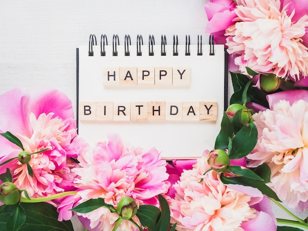 Blank notebook page with birthday greetings