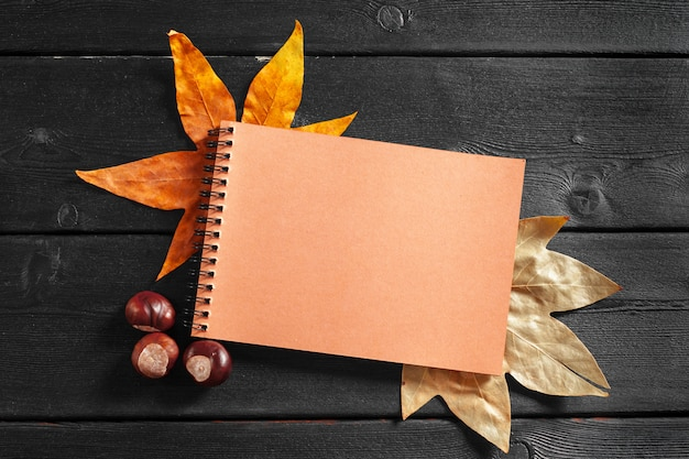 Blank notebook surrounded by autumn leaves