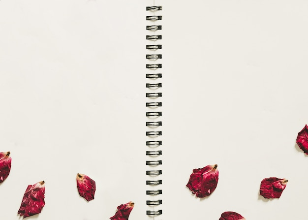 Blank notebook with dry rose petals
