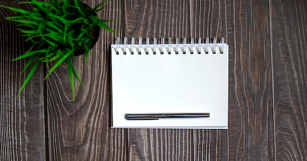 Blank notebook with pen on the wooden table, business concept