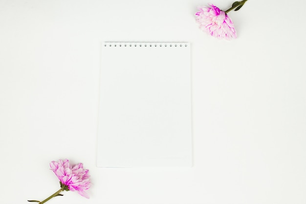 Blank notebook with pink flower on a white background. top view of little plant with flowers on blank notebook on white fabric workspace background. copyspace, mockup