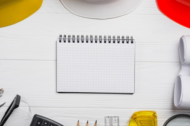 Blank notepad in architectural supplies