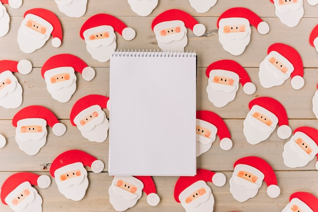 Blank notepad with small santa clauses