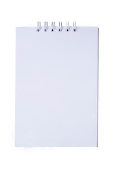 Blank notepad with spiral binding isolated on white background