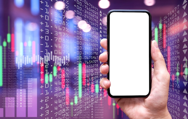 Пустой экран мобильного телефона и фон фондового рынка