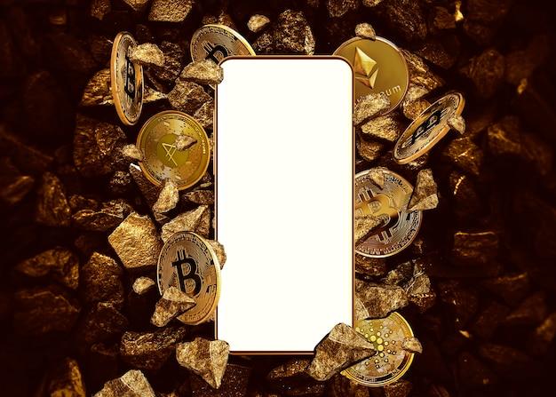 Пустой экран мобильного телефона на фоне крипто монет