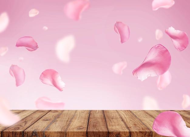 化粧品用の表彰台と花びらの空白