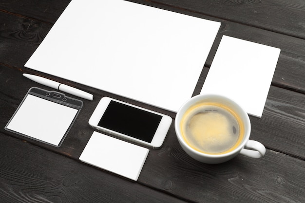 Blank office supplies and coffee cup