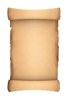 Пустой старый бумажный макет пергамента свитка на белом фоне. 3d рендеринг
