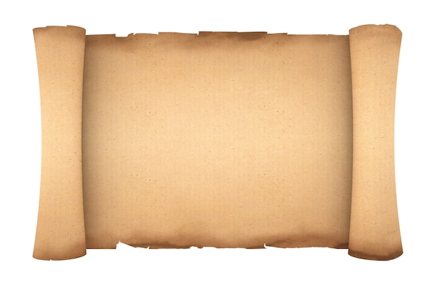 Blank old paper scroll parchment mockup on a white background. 3d rendering