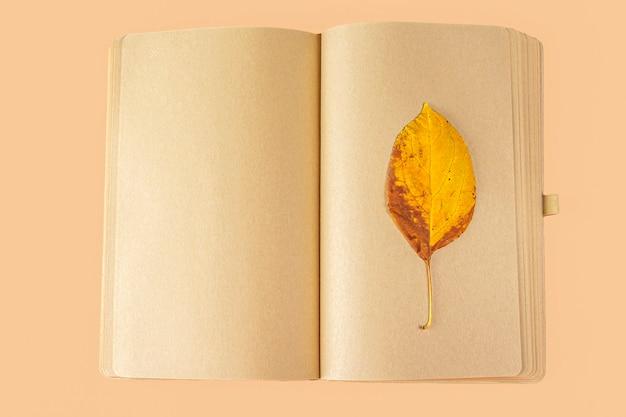 秋の葉のある空白の開いた日記(ノート、スケッチブック)。手紙、願い、目標、計画、ライフストーリーを書くことの概念。秋の構成植物標本。テキスト用のスペースをコピーする