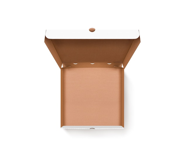 Blank opened pizza box design  top view isolated