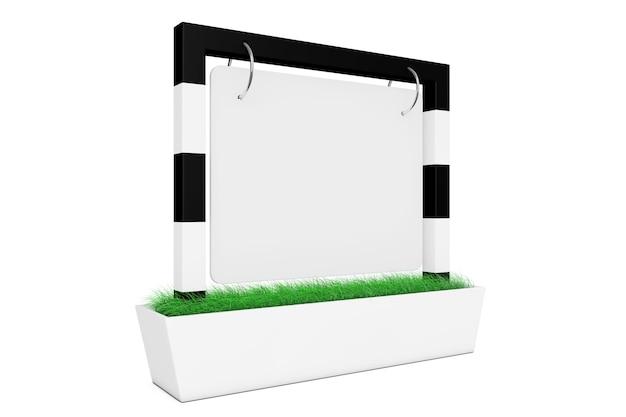 白い背景の上の草と空白の屋外バナーデスクディスプレイ。 3dレンダリング。 Premium写真