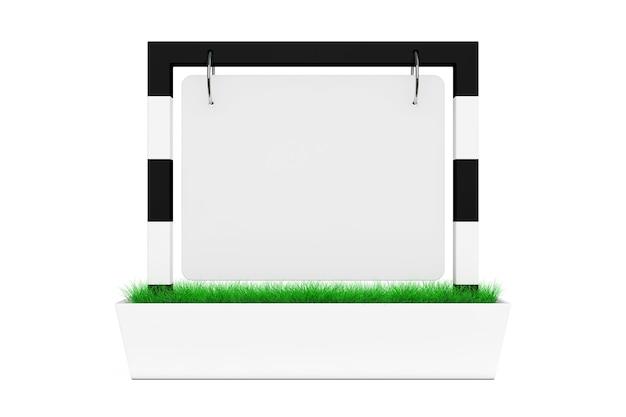 Пустой открытый дисплей стола знамени с травой на белой предпосылке. 3d-рендеринг.