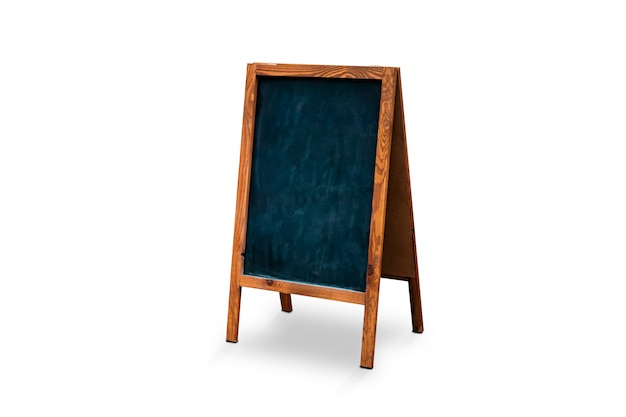 Blank outdoor chalk board stand isolated. blackboard mock up. board with wooden frame temp