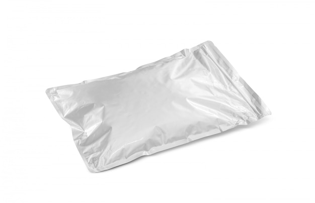 Blank packaging aluminium foil pouch isolated