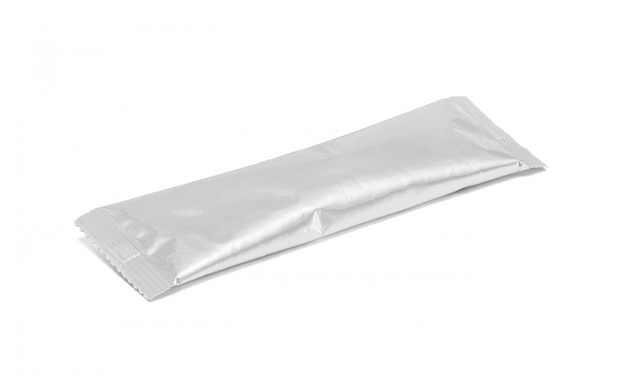 Blank packaging aluminum foil coffee stick pouch isolated
