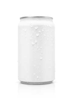 Blank packaging beverage tin can with water drops isolated