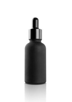 Blank packaging black glass dropper serum bottle isolated on white