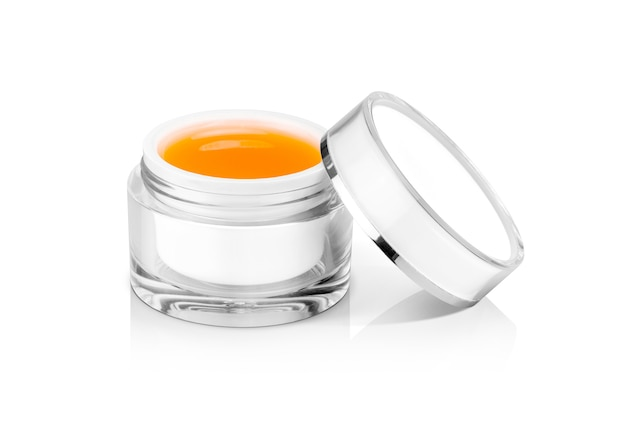 Blank packaging clear cosmetic cream pot isolated