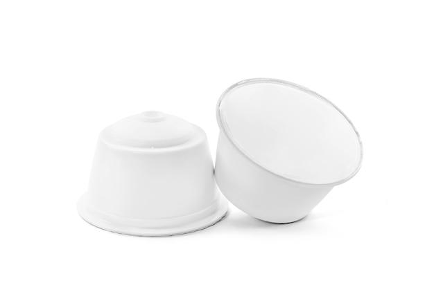 Blank packaging coffee capsule isolated
