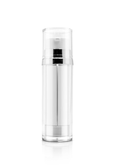 Blank packaging cosmetic double serum bottle for product design mock-up on white