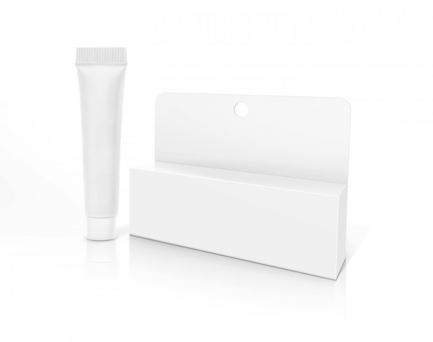 Blank packaging cosmetic tube and box isolated