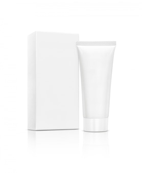 Blank packaging cosmetic tube with box isolated