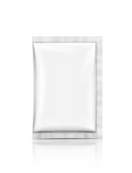 Blank packaging foil sachet isolated