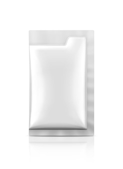Blank packaging foil sachet isolated