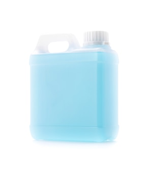 Blank packaging gallon of blue alcohol sanitizer for hand cleaning isolated on white background with clipping path
