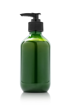 Blank packaging green pump bottle for cosmetic product design mock-up isolated in white background with clipping path
